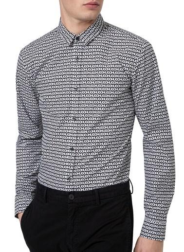 Hugo Boss  Baskılı Pamuklu Extra Slim Fit Gömlek Erkek Gömlek 50449728 001 Siyah